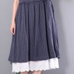 kareli bol kesim günlük elbise modeli