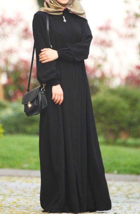 siyah uzun ferace modeli