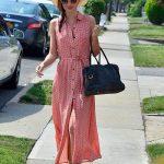uzun düğmeli günlük elbise modeli