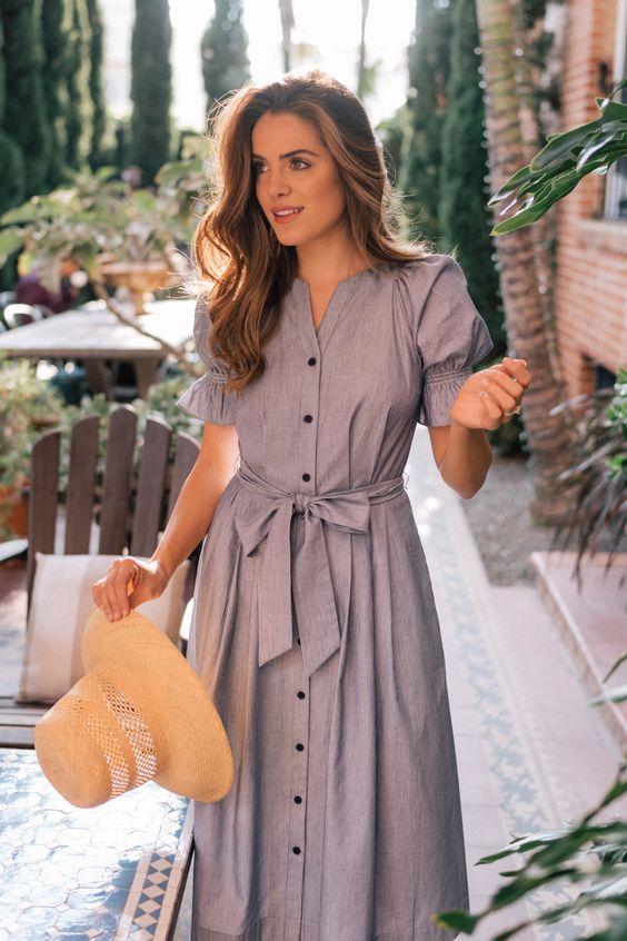 uzun düğmeli gri günlük elbise modeli