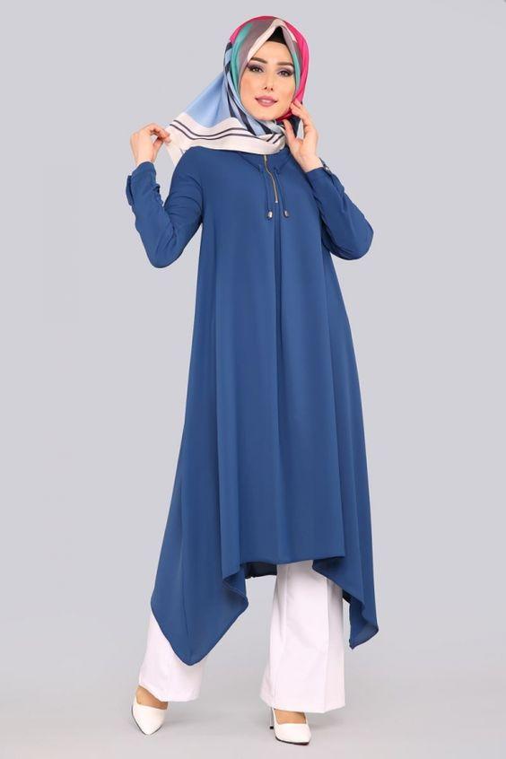 uzun mavi tunik modeli