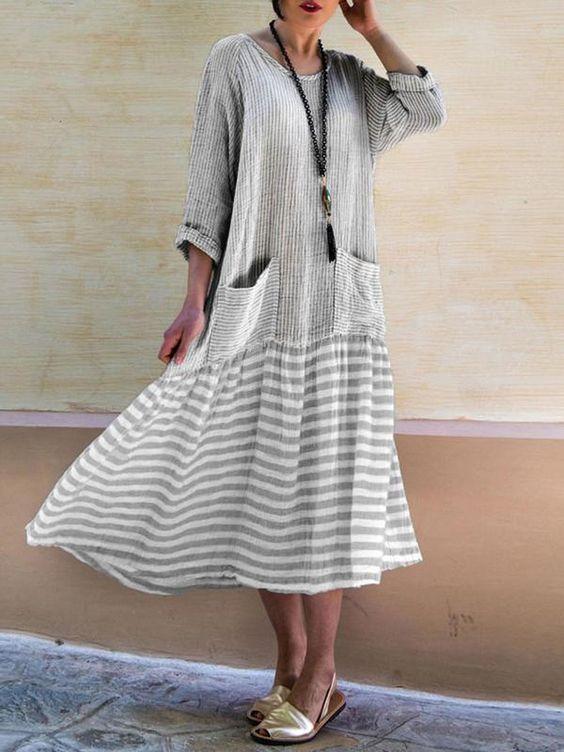 uzun salaş günlük elbise modeli