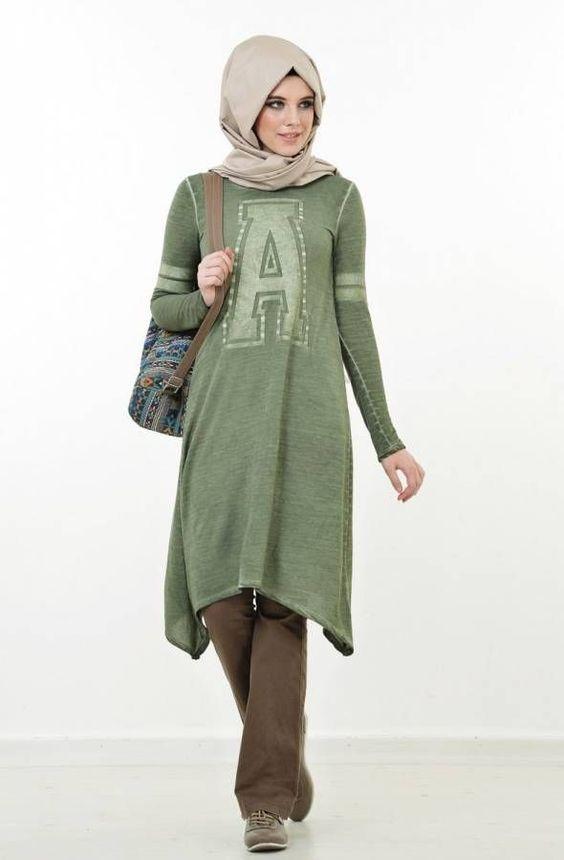 yeşil uzun tunik modeli