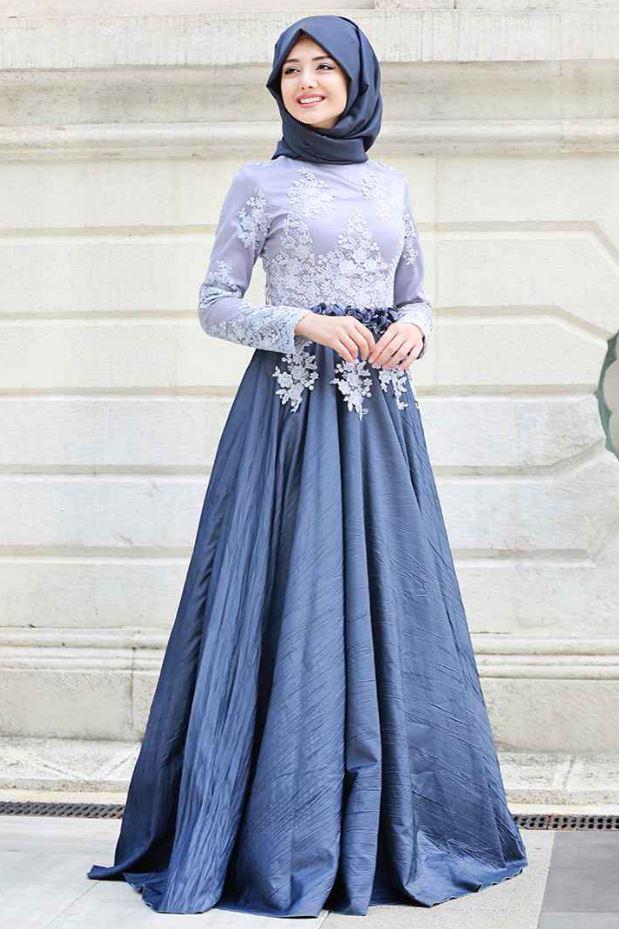 2 Renk Mavi Dantelli Mezuniyet Elbisesi