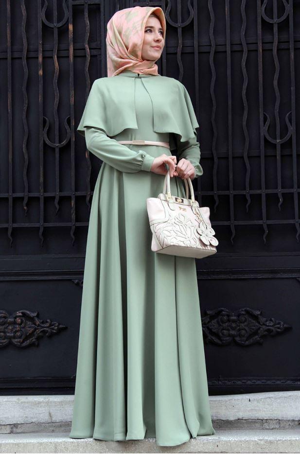 Açık Yeşil Tesettür Mezuniyet Elbise