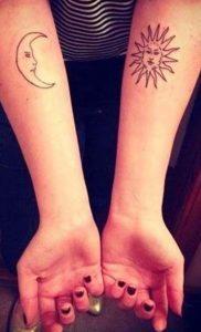Ay ve Güneş Kolay Dövme Modeli