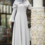 Düz Gri Tesettür Mezuniyet Elbise