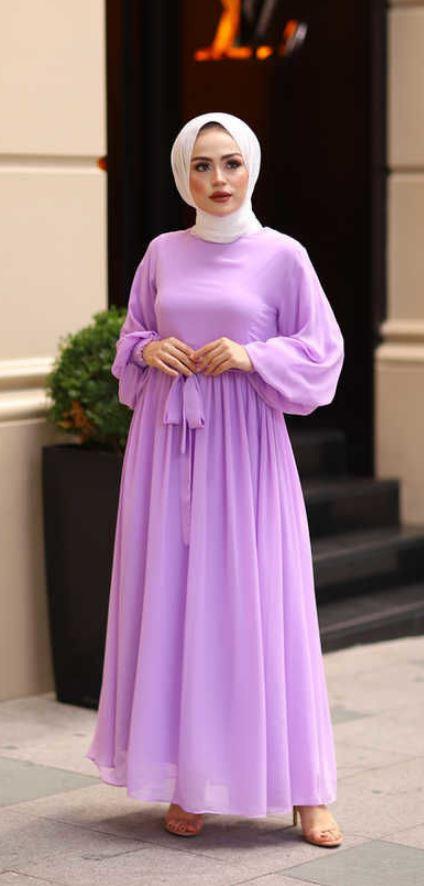 Eflatun Tesettür Elbise Modeli