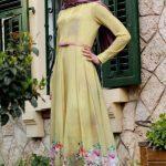 Sarı Çiçek Desenli Mezuniyet Elbisesi
