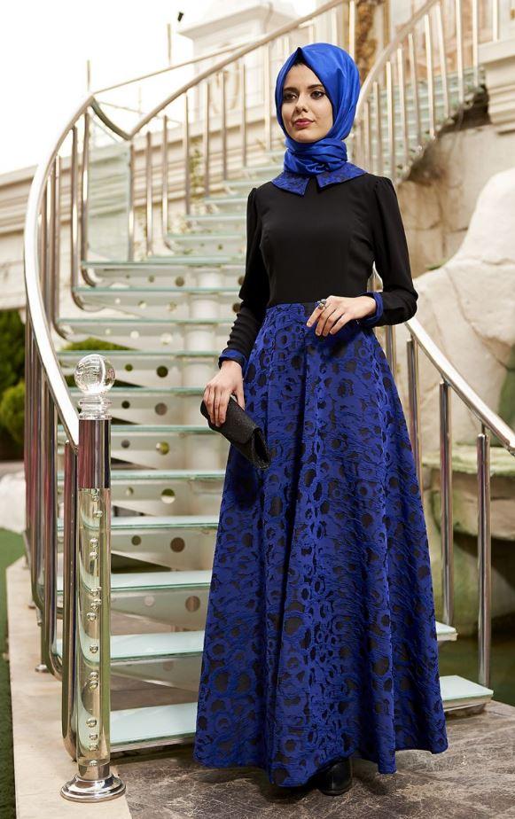 Siyah Mavi Mezuniyet Elbisesi Modeli