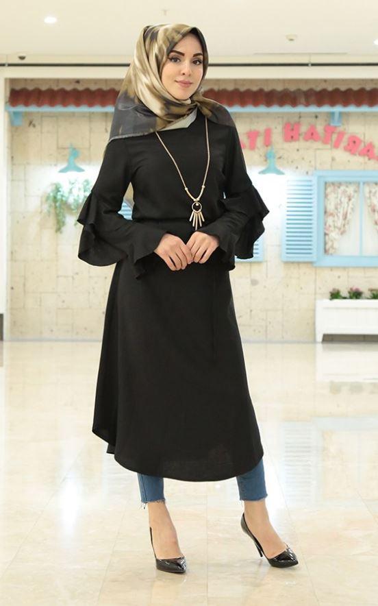 Siyah Uzun Tesettür Tunik