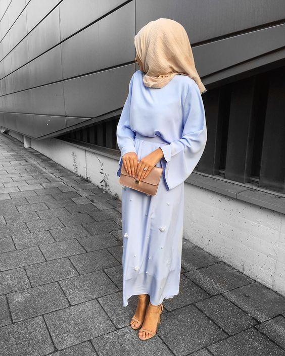 açık mavi tesettür elbise