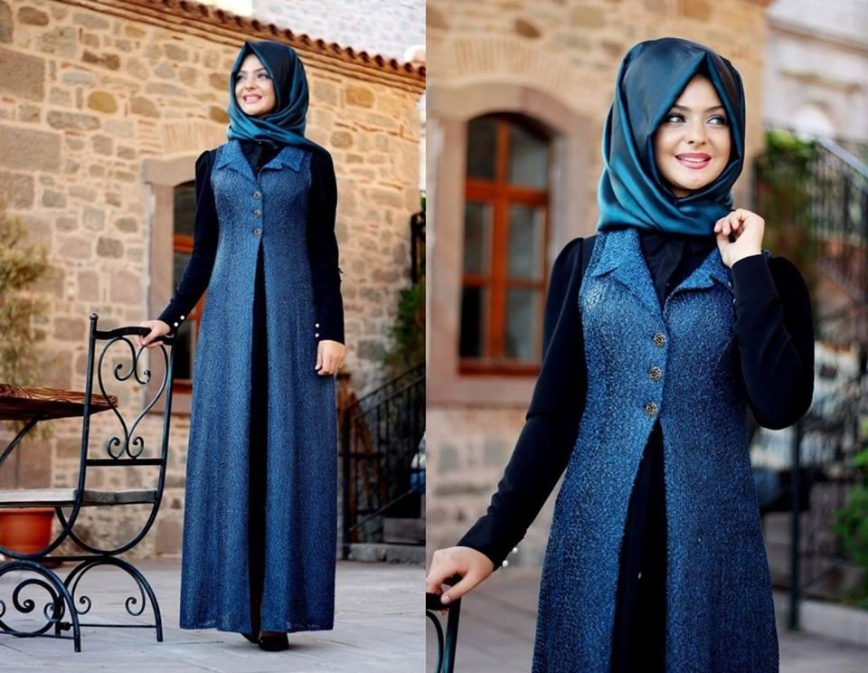 tesettür kışlık elbise seçimi 2019