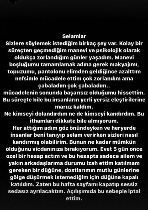Ebru Sever Türk'ten Açıklama
