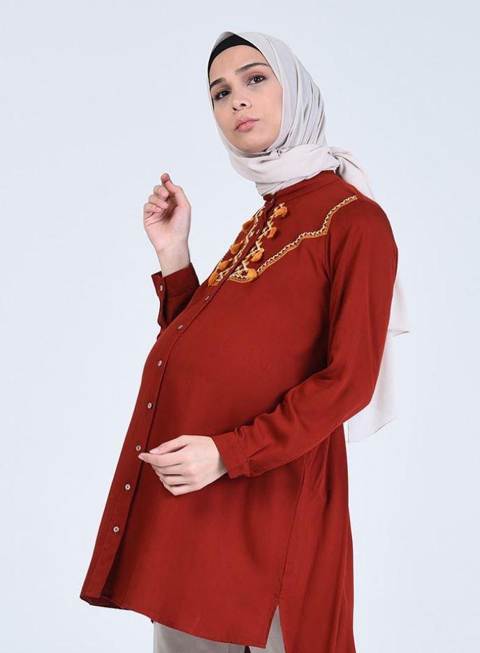 Kırmızı Hamile Gömlek sefamerve
