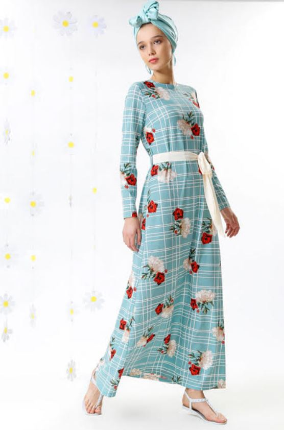 Mint Yeşili Yazlık Çiçekli Elbise