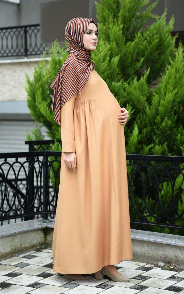 Sefamerve Bej Renk Hamile Elbise