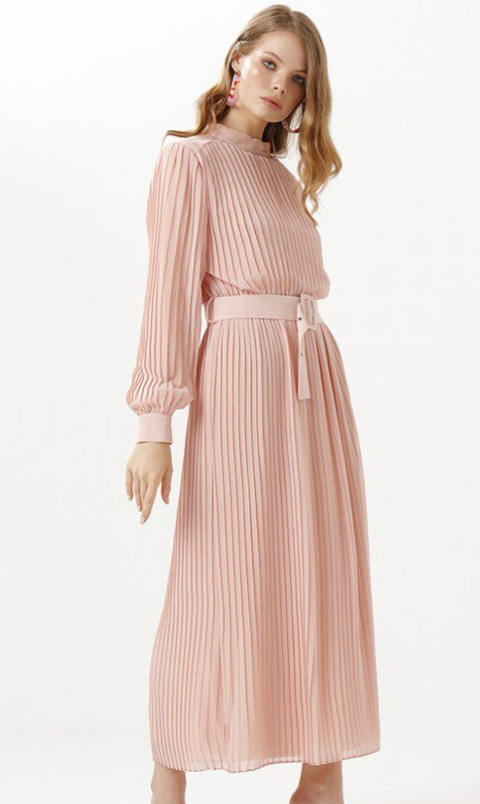 Somon Rengi Pilise Elbise Modeli
