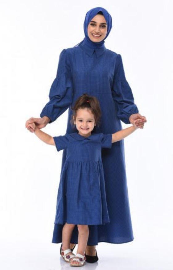 Anneli Kızlı Tesettür Mavi Kombin