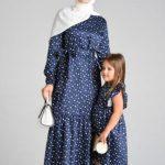 Desenli Anne Kız Kombin Elbiseler