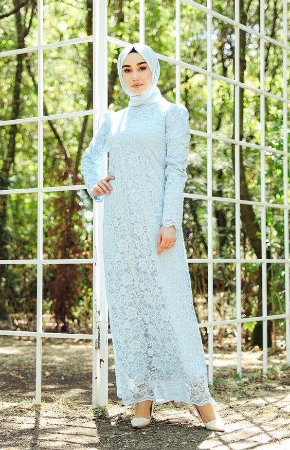 Dantel Detaylı Abiye Elbise Modeli – Bebe Mavisi