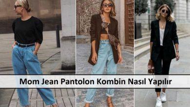 Kemerli Mom Jean Pantolon Modeli ana