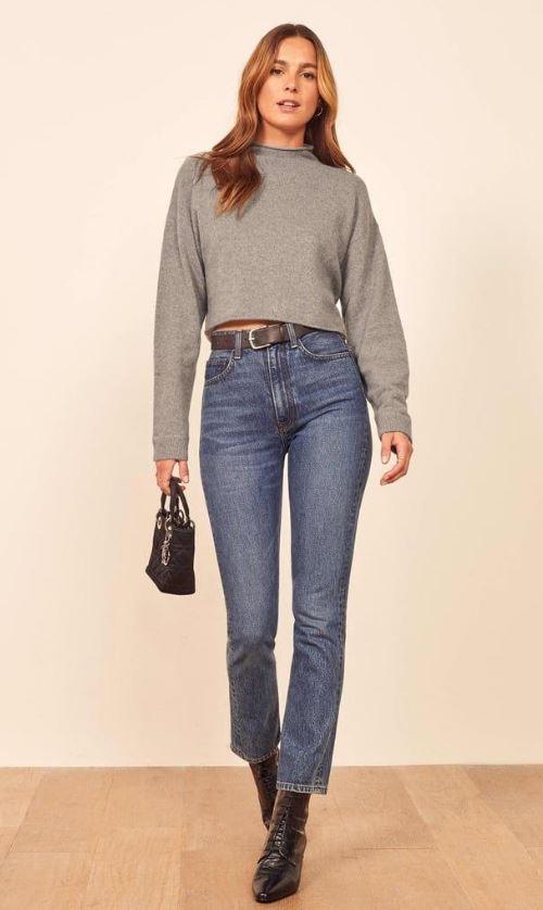 Koyu Mom Jean Pantolon Modeli