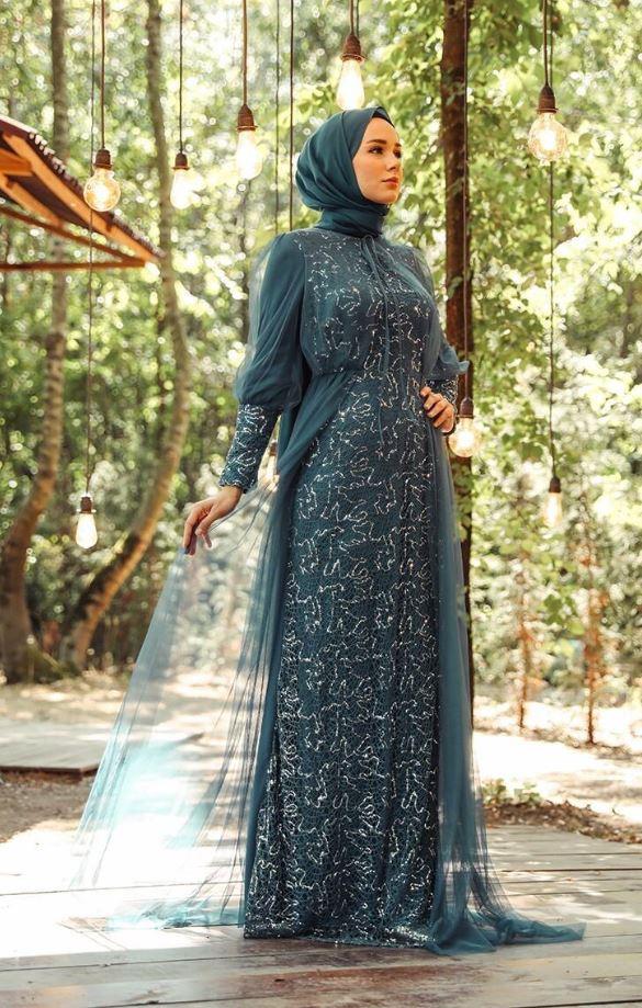 Payetli Abiye Elbise Modeli – Petrol