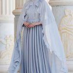 Pelerinli Abiye Elbise Modeli - Mint