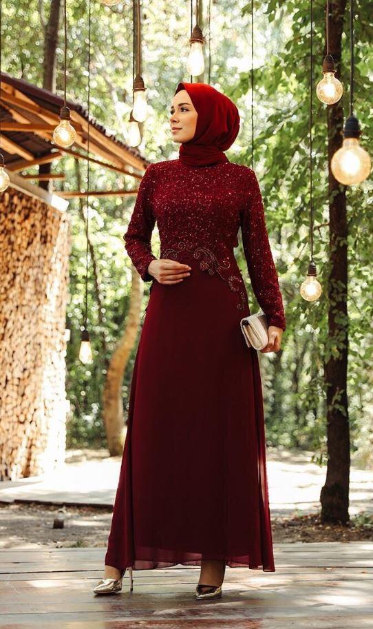 Pul Payetli Abiye Elbise Modeli - Bordo