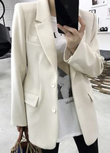 Beyaz Uzun Kadın Blazer
