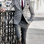 Çizgili Ceket Pantolon Modeli
