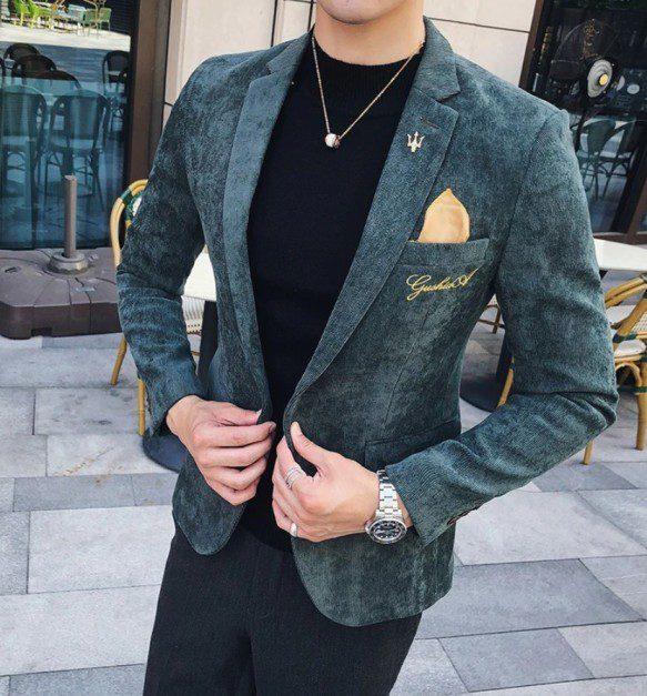 Kadife Erkek Blazer Ceket Modeli