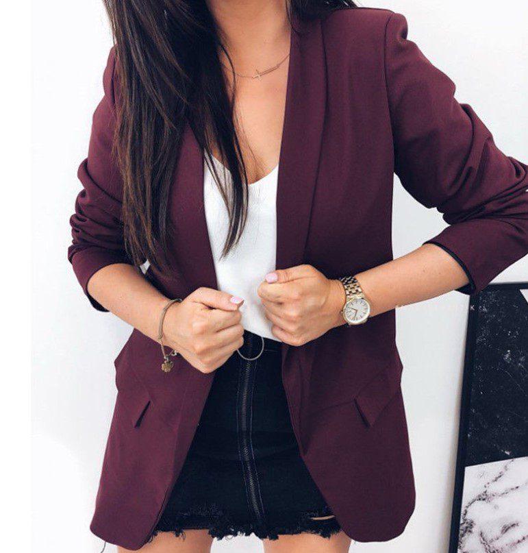 Kadın Düğmesiz Blazer Ceket