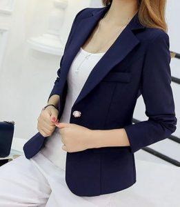 Kadın Mavi Blazer Ceket Kombini