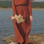 Kiremit Rengi Tesettür Elbise Modeli