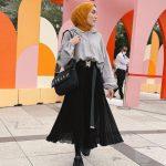 Stella Çanta Uzun Pileli Etek Tesettür Kombin