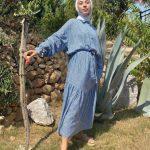 Uzun Etnik Desenli Tesettür Elbise Modeli