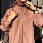 Ayşenur Coşkun Açık Kahverengi Füğmeli Gömlek
