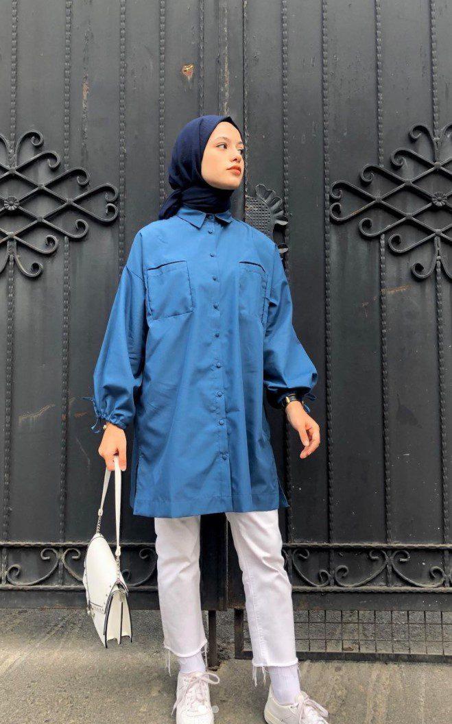 Ayşenur Coşkun Mavi Gömlek Lacivert Şal Kombini
