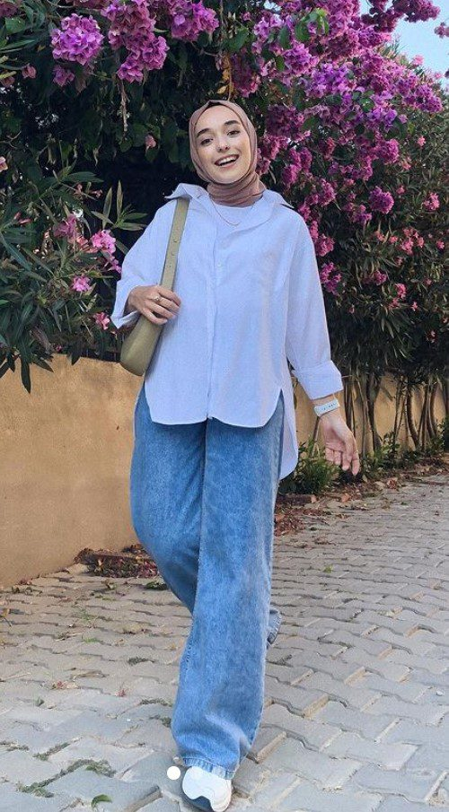 Ceyda Öztürk Geniş Paça Pantolon Gömlek Kombin