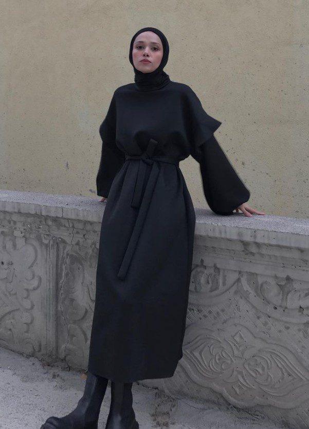 Mavera Bulut Uzun Siyah Elbise