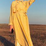Tesettür Çizgili Elbise Modeli