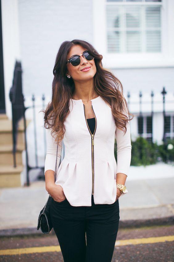 beyaz fermuarlı peplum ceket modeli