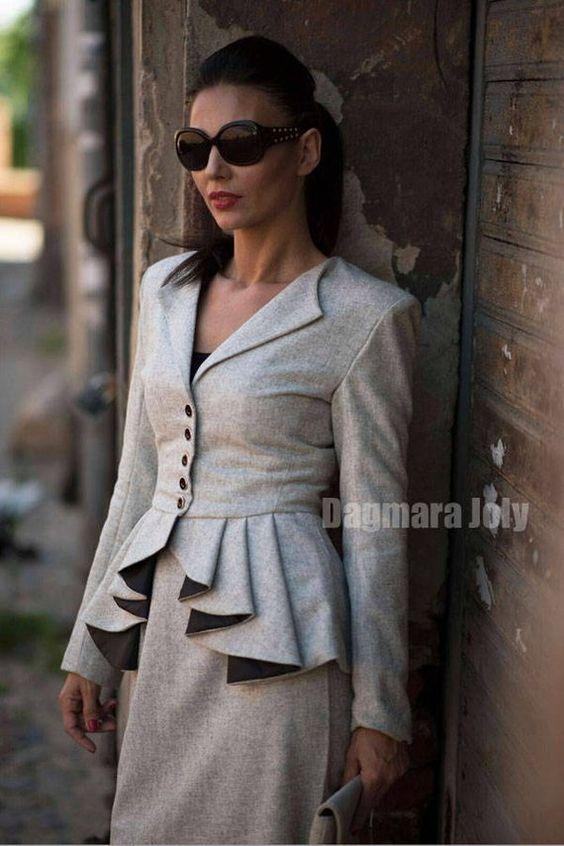 iş kadınları için peplum ceket