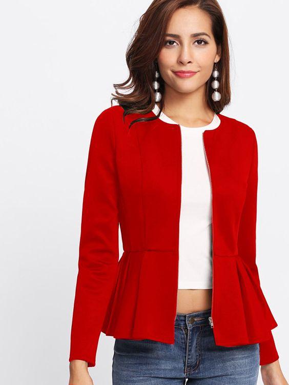 kırmızı yazlık peplum ceket
