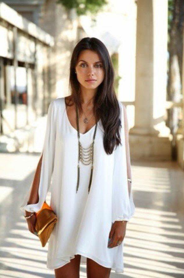 Esmerler için Yazlık Beyaz Elbise