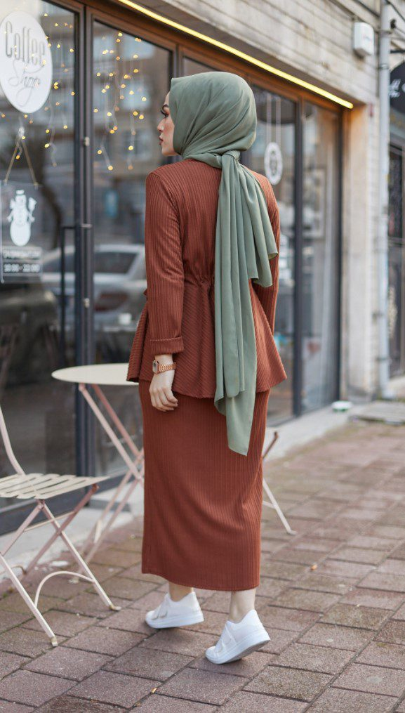 İkili Takım Kiremit Rengi Elbise