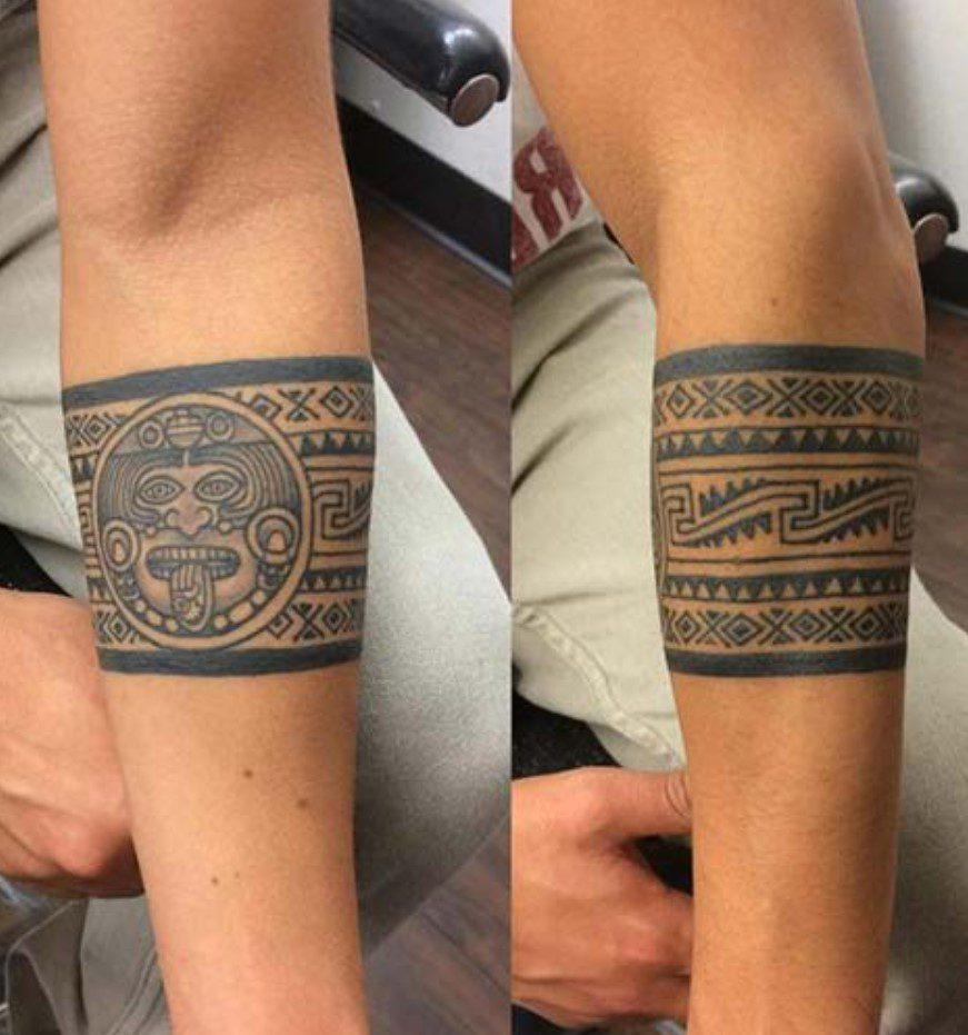 Maya Figürlü Şerit Dövme Modeli
