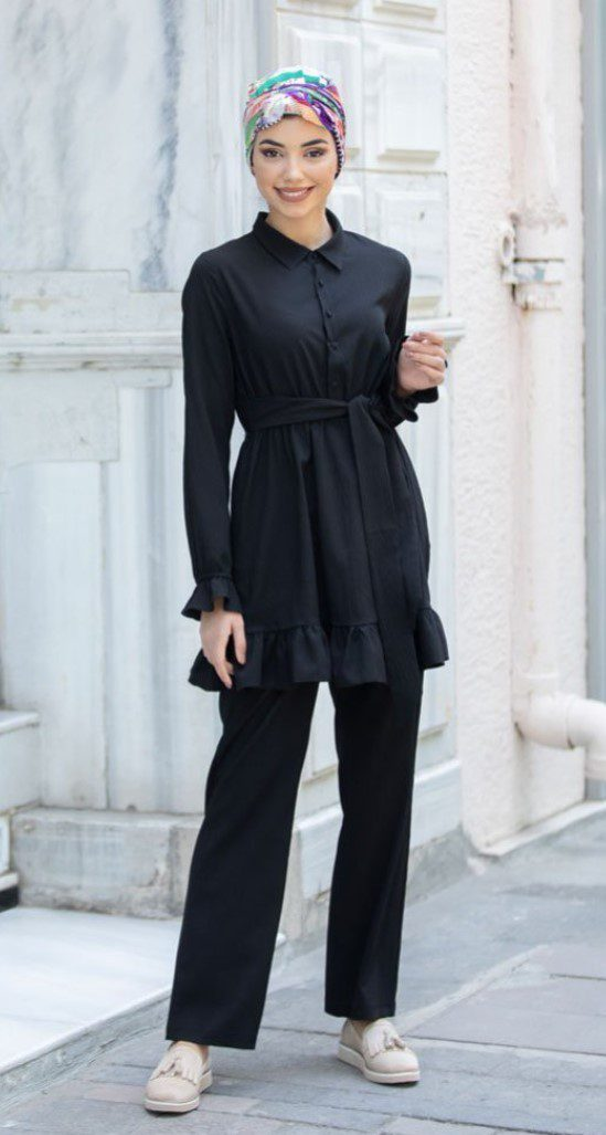 Siyah İkili Takım Tesettür Elbise